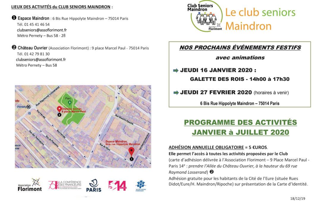 Demandez le programme 2020 du Club seniors