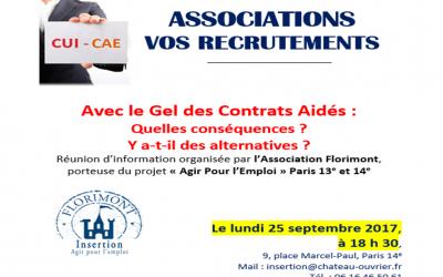 Invitation Réunion Gel Contrats Aidés 25 septembre 2017
